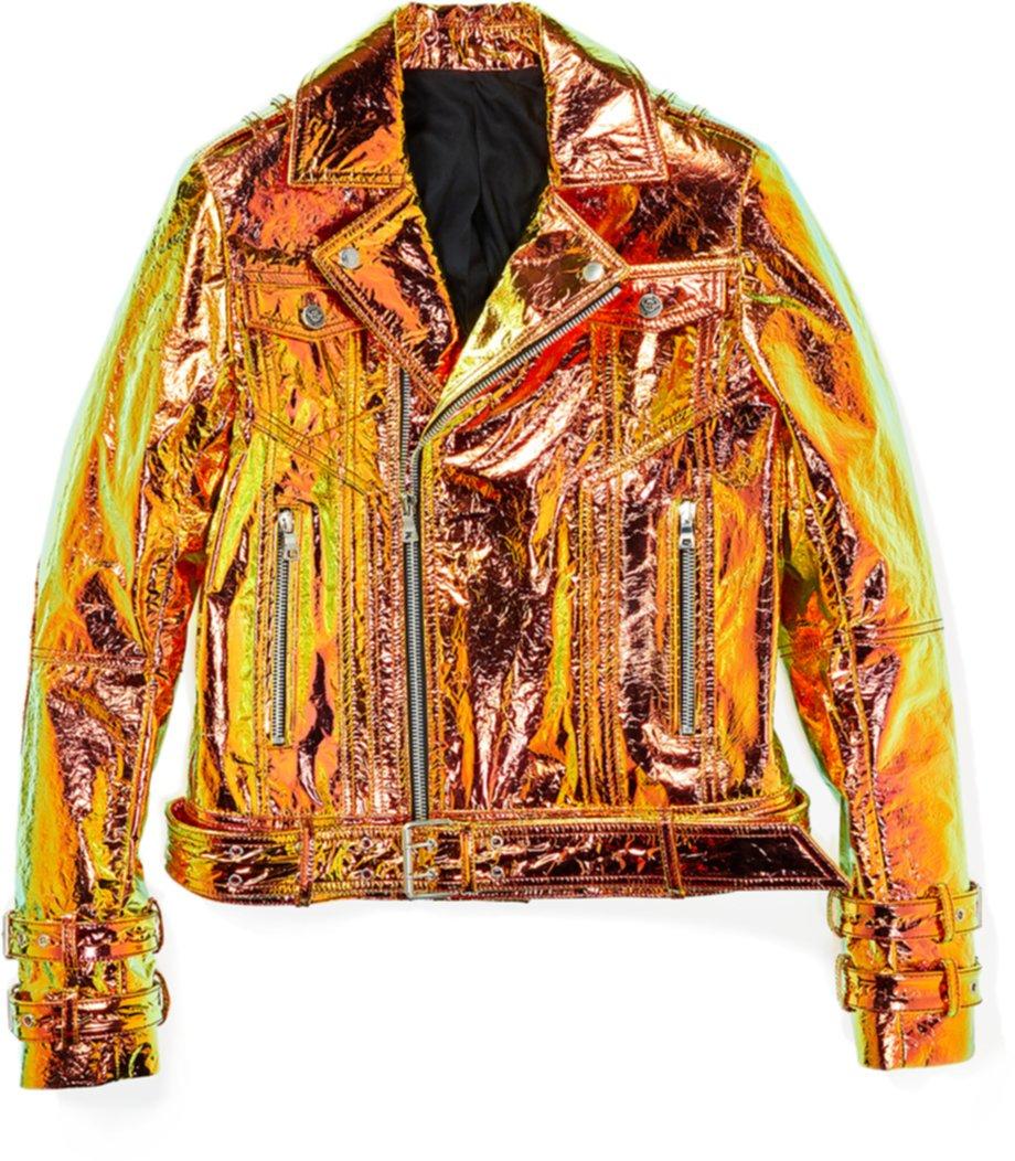 Кожаная куртка с голограммой Perfecto Balmain