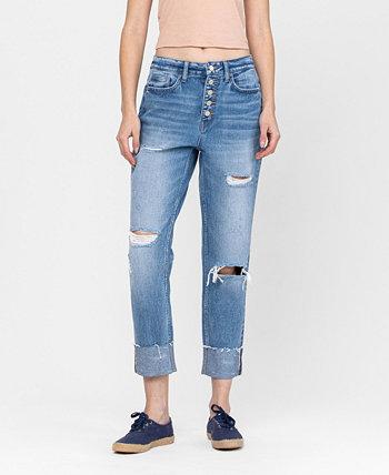 Women's Button Up Boyfriend Jeans with Cuffed Hem Detail FLYING MONKEY