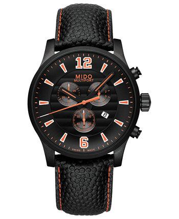 Мужские швейцарские часы с хронографом Multifort с черным кожаным ремешком, 42 мм MIDO
