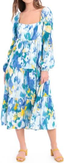 Printed Linen Blend Tiered Midi Babydoll Dress Donna Morgan
