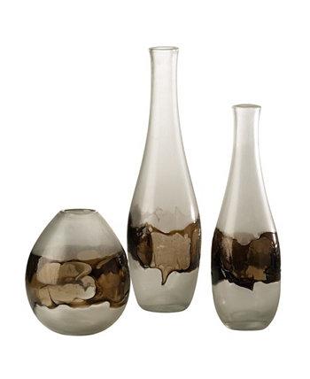 Средняя стеклянная ваза из расплавленного стекла Global Views