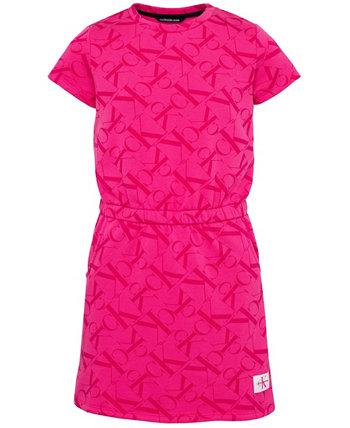 Платье с принтом логотипа для больших девочек Calvin Klein