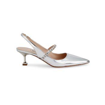 Туфли-лодочки с металлическими ремешками на пятке и кристаллами MIU MIU