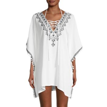 Embroidered Caftan Coverup Dress Bindya