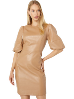 Faux Leather Sheath with Puff Sleeves BCBGMAXAZRIA