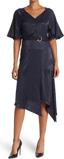 Платье миди с V-образным вырезом и поясом со змеиным принтом Sharagano