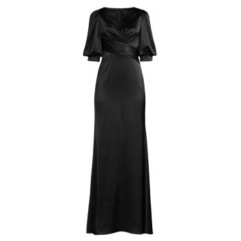 Атласное платье с объемными рукавами Aidan Mattox