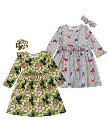 Платья с принтом листьев и единорога для маленьких девочек с аксессуарами для волос, набор из 4 предметов Blueberi Boulevard