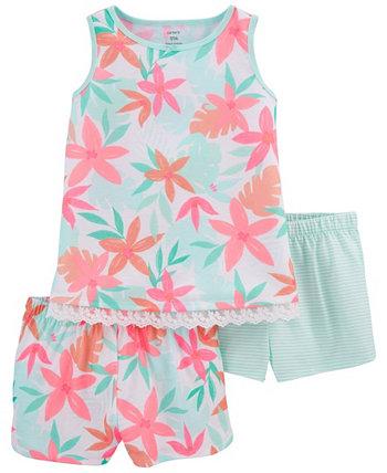 Тропические пижамы свободного кроя для маленьких девочек, 3 шт. Carter's