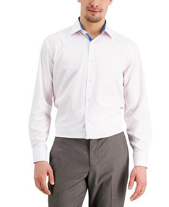 Мужская приталенная классическая рубашка с эластичным точечным принтом без железа и плиссированной маской для лица Tallia