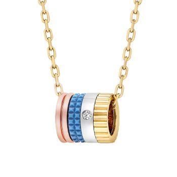 Quatre Blue Edition, трехцветное золото 18 карат, бриллианты и бриллианты; Синее керамическое мини-ожерелье с подвеской Boucheron