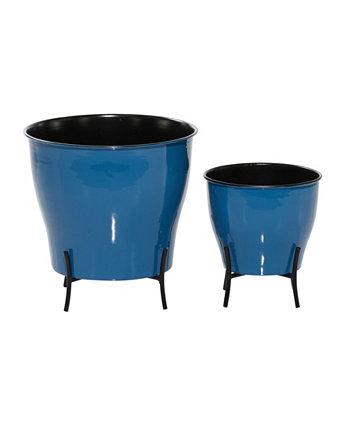 """Набор из 2 плантаторов для фермерского дома из синего металла, 9 """", 12"""" Rosemary Lane"""