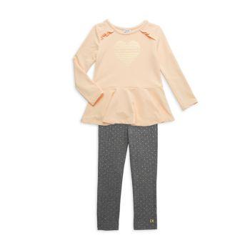 Двухкомпонентный топ с баской и баской для маленьких девочек; Леггинсы в горошек Calvin Klein