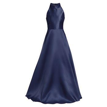 Атласное бальное платье с лямкой на шее ML Monique Lhuillier