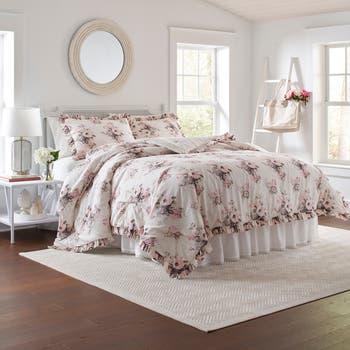 Бежевое одеяло с цветочным рисунком из 3 предметов Viola, полное / королевское одеяло с цветочным принтом Laura Ashley