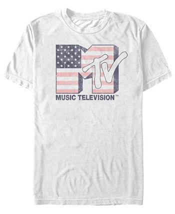 Мужская футболка с американским флагом с коротким рукавом MTV