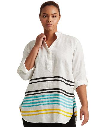 Plus-Size Striped Linen Tunic Ralph Lauren