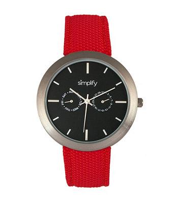 Кварцевые часы с черным циферблатом 6100, красный ремешок из полиуретана с покрытием из холста, 43 мм Simplify