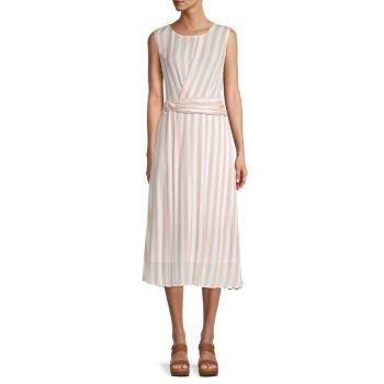 Полосатое платье с поясом Chenault
