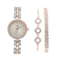 Двухцветные женские часы и браслет Folio с блестками, набор из 3 предметов Folio