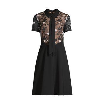 Цветочная аппликация Fit & amp; Платье-клеш SHANI