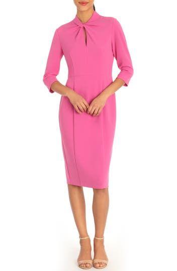 Платье-футляр из крепа с каплевидным вырезом Donna Morgan