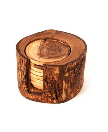 Набор из 8 подстаканников в деревенском стиле из оливкового дерева с держателем BELDINEST