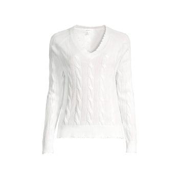 Вязаный кашемировый свитер с V-образным вырезом и потертостями Minnie Rose