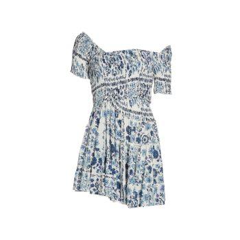 Мини-платье Soledad с открытыми плечами и цветочным принтом с оборками Poupette St Barth