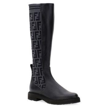 Вязаные кожаные армейские ботинки до колена FENDI
