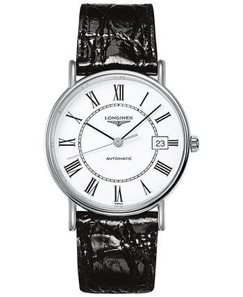 Мужские швейцарские автоматические часы Le Grande Classique с черным кожаным ремешком 38 мм L49214112 Longines