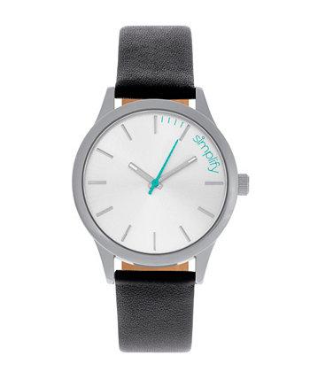 Кварц The 2400 Silver Dial, часы из натуральной черной кожи 42 мм Simplify