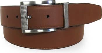 Двусторонний кожаный ремень Wayne из зернистой кожи - 32-44 дюйма BOCONI