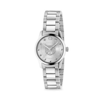 G-Timeless Stainless Steel Tiger Dial Bracelet Watch GUCCI