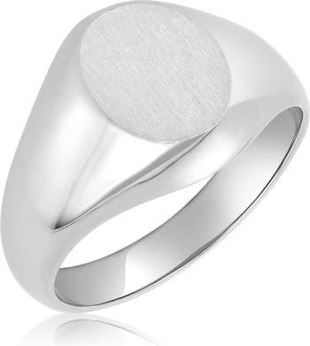 Серебряное овальное кольцо-печатка ADORNIA