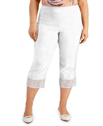 Plus Size Crochet-Hem Capri Pants, Created for Macy's J&M Collection