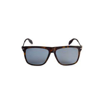 57MM Square Sunglasses Alexander McQueen