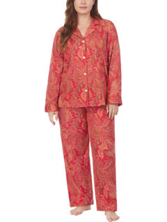 Пижамный комплект большого размера из атласа с матовой спинкой и длинным рукавом с вырезом на воротнике Ralph Lauren