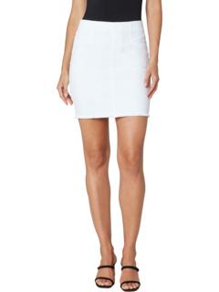 """17"""" Pull-On Cat Eye Pocket Skirt in Bright White Liverpool"""