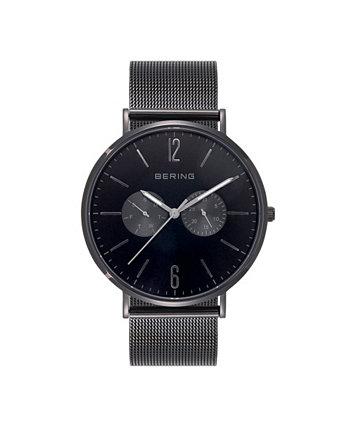 Мужские многофункциональные черные часы из нержавеющей стали с браслетом 40мм Bering