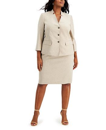 Plus Size Three-Button Skirt Suit Le Suit