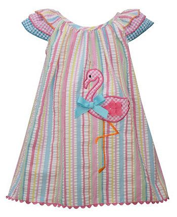 Baby Girls Flamingo Striped Seersucker Sundress Set Bonnie Baby