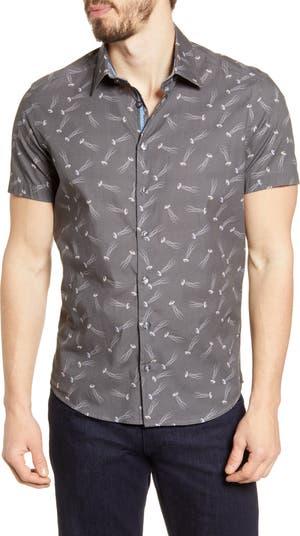 Рубашка на пуговицах из эластичного хлопка с короткими рукавами Stone Rose
