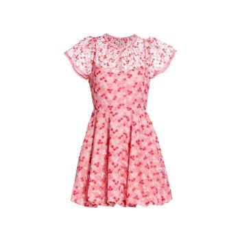 Floral Mesh Mini Dress ML Monique Lhuillier