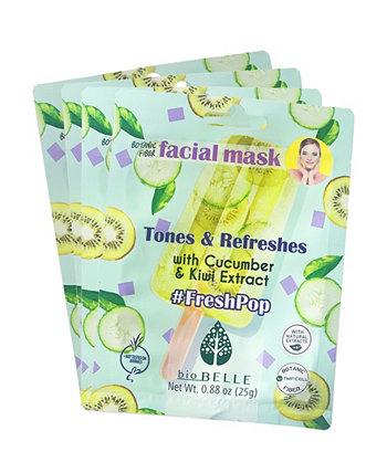 Набор масок для лица с экстрактом огурца и киви из 4 масок, 0,88 унции Biobelle