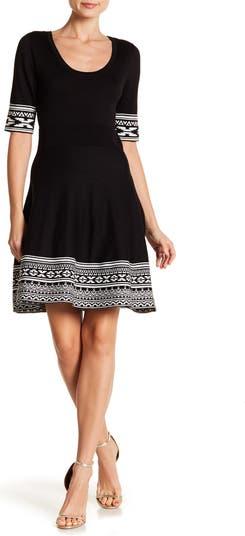 Трикотажное платье с круглым вырезом и окантовкой Nina Leonard