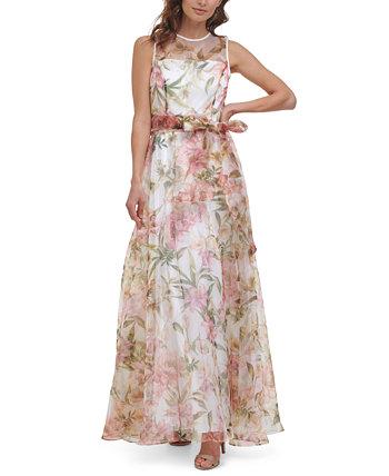Бальное платье Petite Illusion-Neck Eliza J