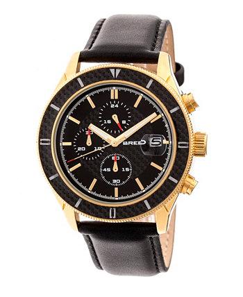 Кварц Maverick Chronograph Золотые и черные часы из натуральной кожи 43 мм Breed