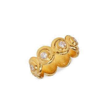 Капля 22K & amp; Желтое золото 24 карат & amp; Алмазная лента Gurhan