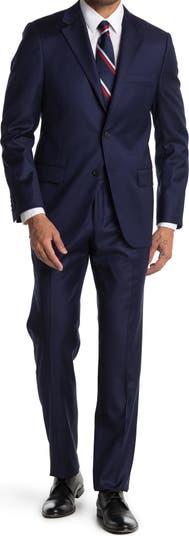Однотонный темно-синий шерстяной костюм классического кроя Hickey Freeman